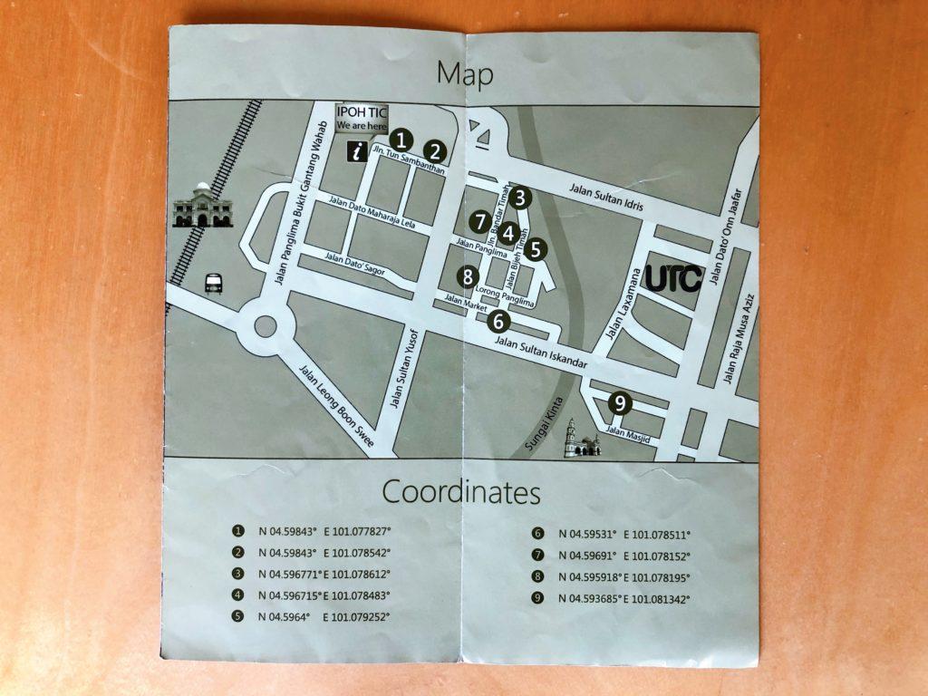 イポーのウォールアートのマップ